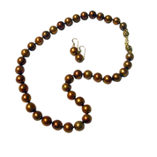 Bronze Pearl Necklace and Earrings